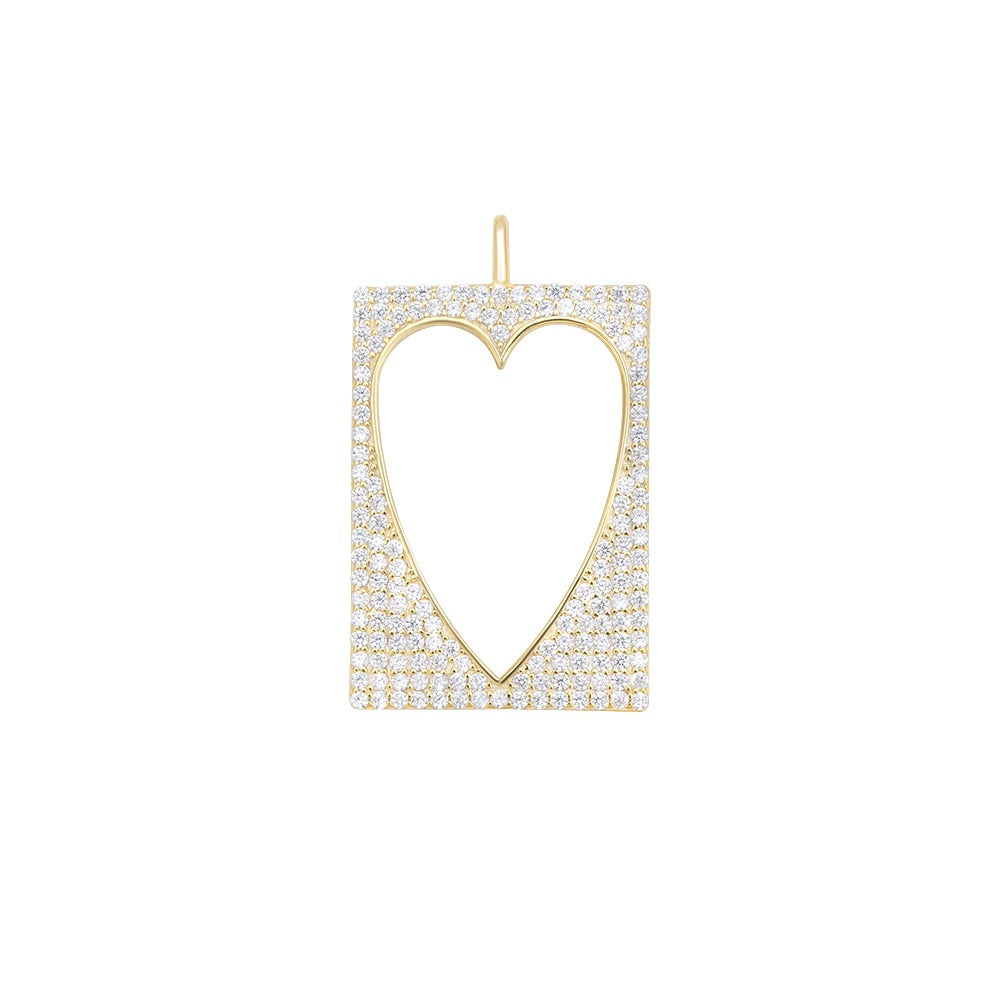 PAVE HOLLOW HEART CHARM