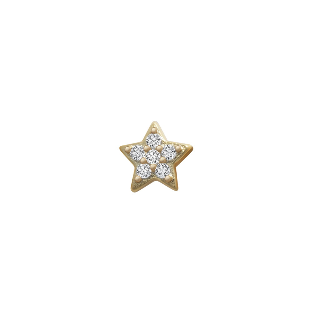 SKINNY SILVER STAR CHARM (YELLOW)