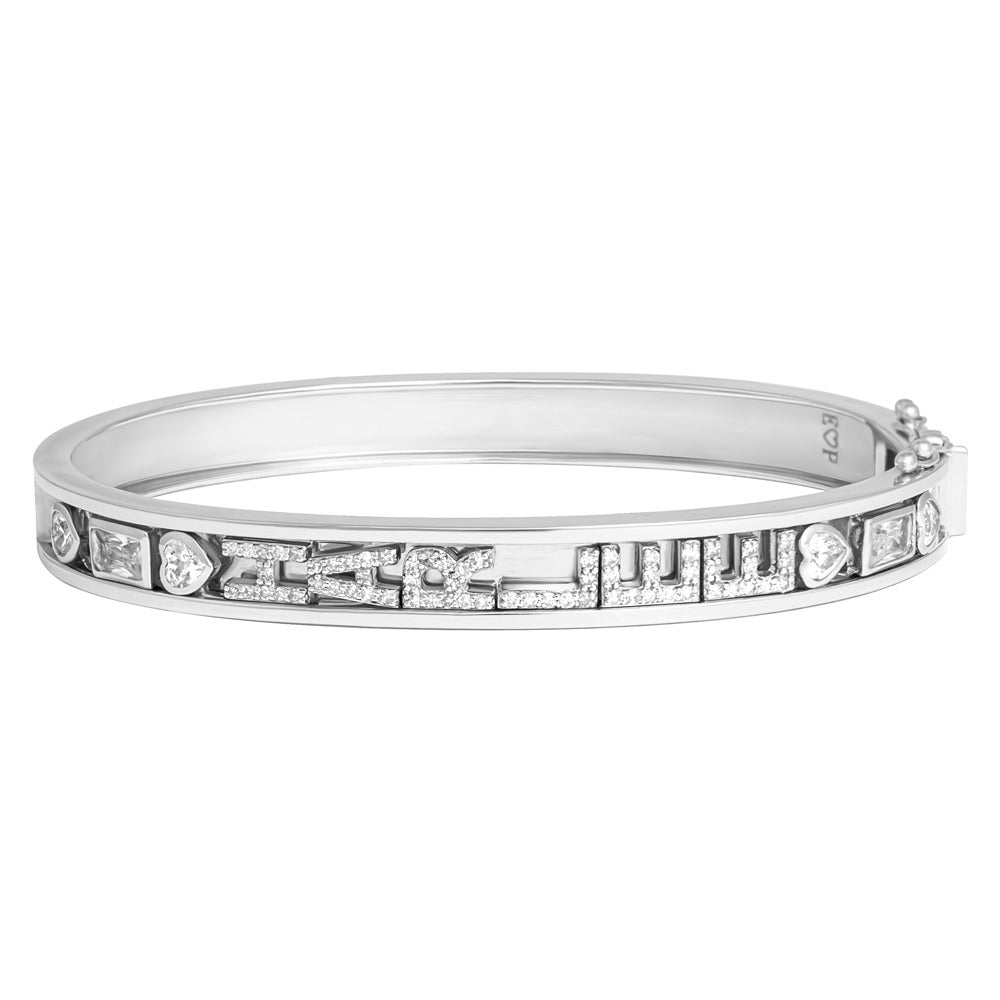 SMALL SKINNY SILVER BANGLE (WHITE)