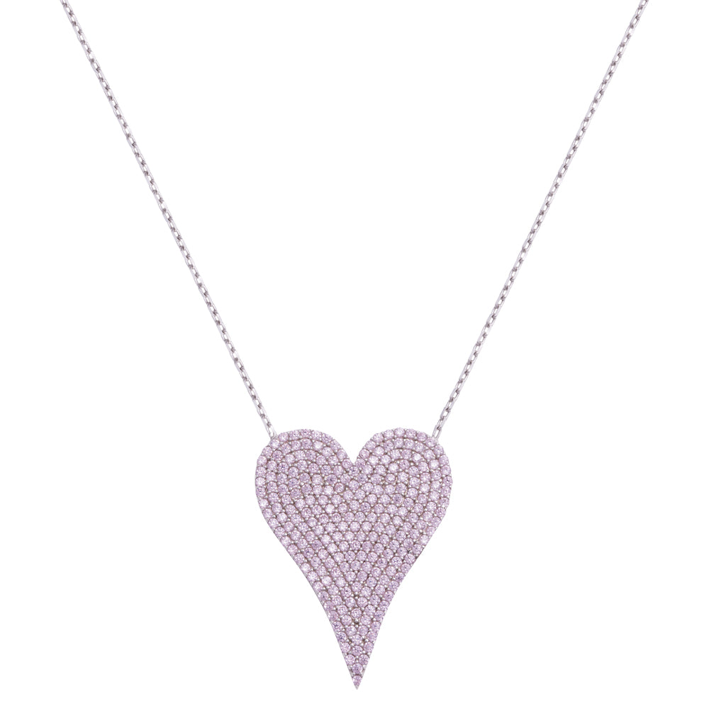 LARGE PAVE PINK DIAMOND HEART-PRE ORDER