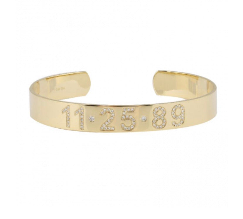 14K DIAMOND PERSONALIZED CUFF