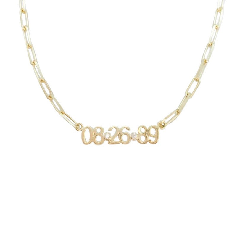 DATE ON A LINK CHAIN NECKLACE