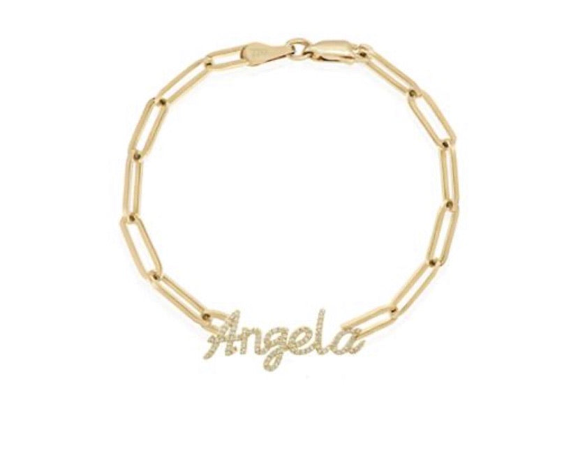 14K DIAMOND SCRIPT NAME ON A LINK CHAIN BRACELET