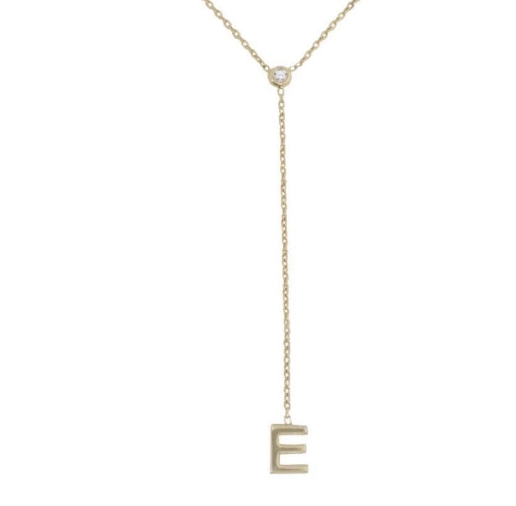 14K LARIAT LETTER NECKLACE