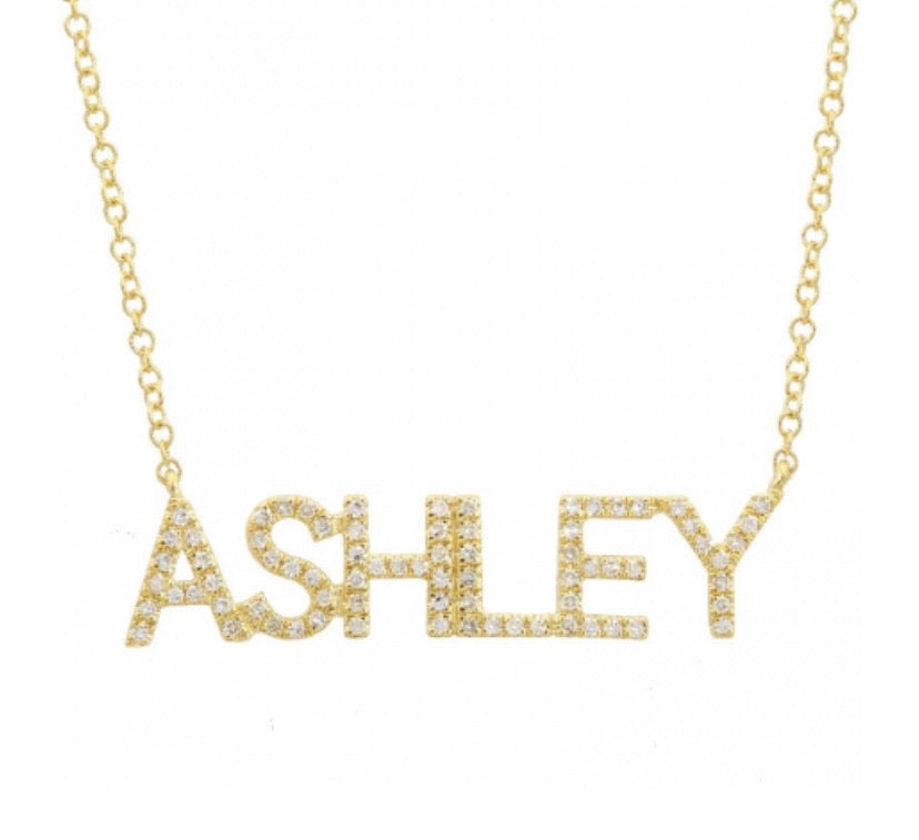 PAVE BLOCK LETTER NECKLACE