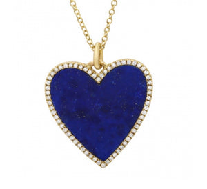 14K LAPIS HEART  NECKLACE