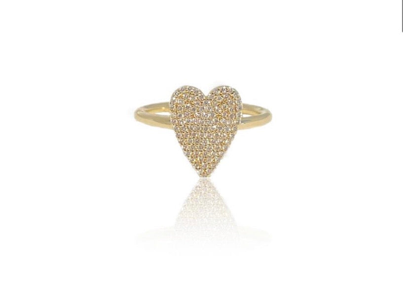 14K SMALL DIAMOND HEART RING