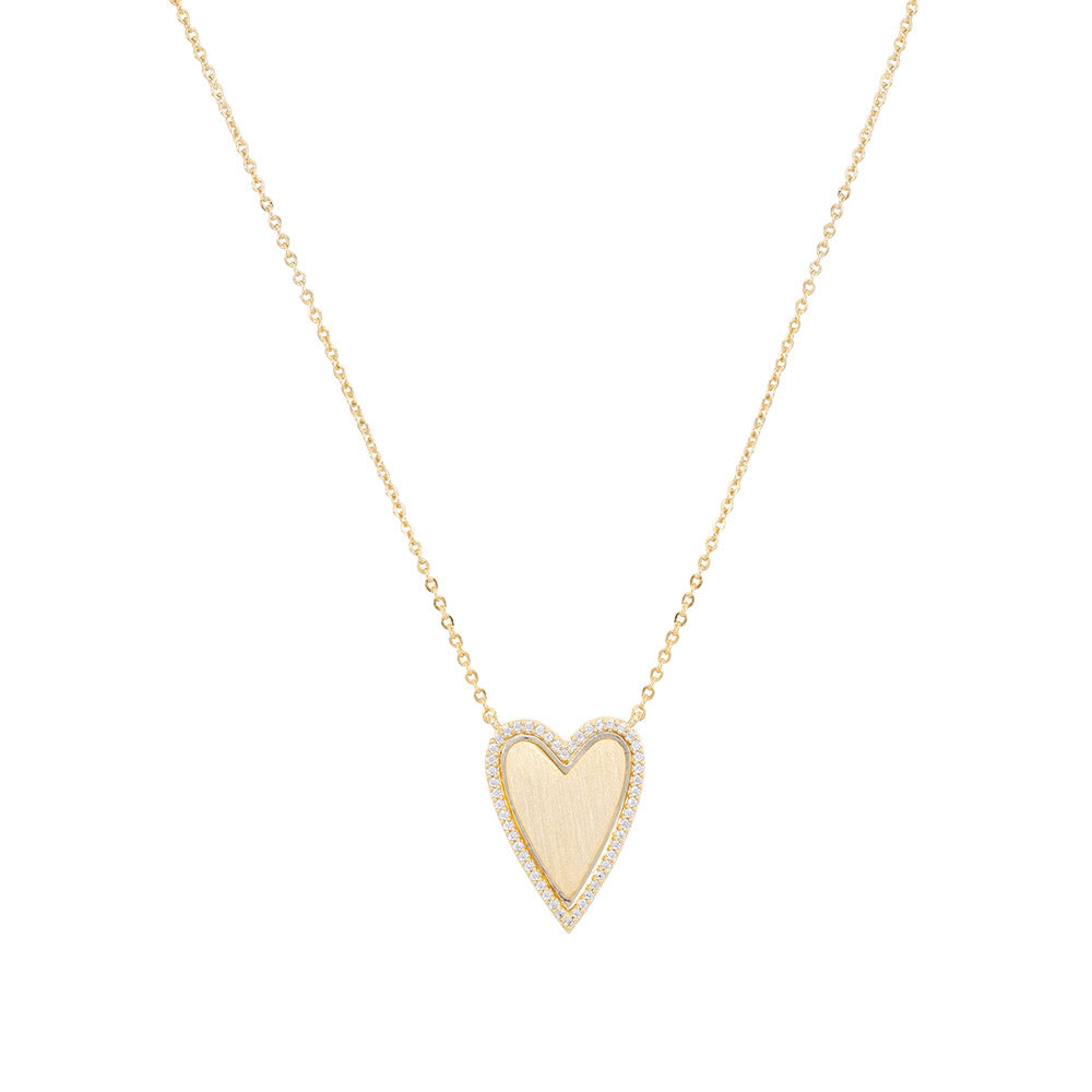 PAVE OUTLINE HEART NECKLACE