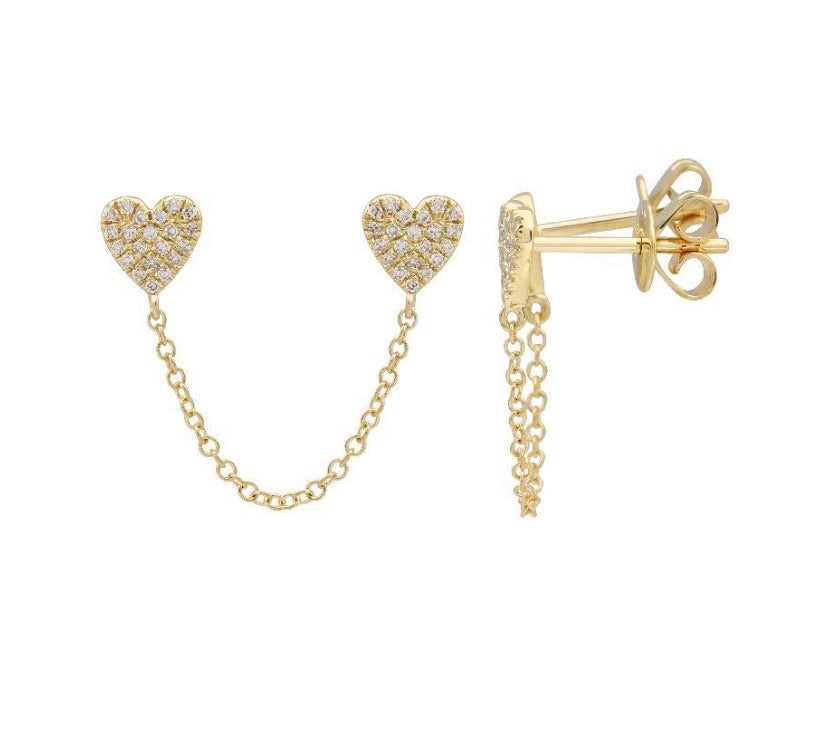 DOUBLE PAVE HEART CHAIN EARRINGS