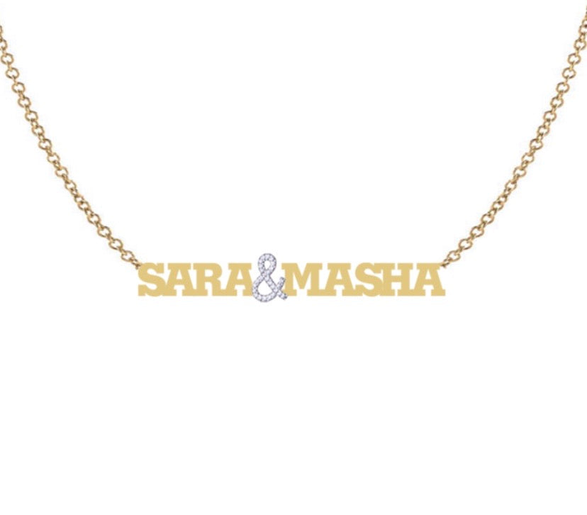 MULTI NAME NECKLACE WITH PAVE &