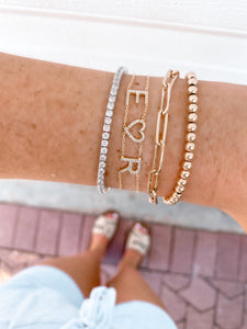 DOUBLE CHAIN PAVE NAME BRACELET