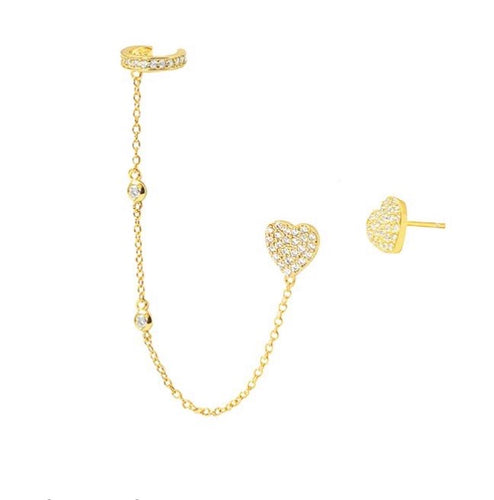 HEART ON A CHAIN CUFF EARRING