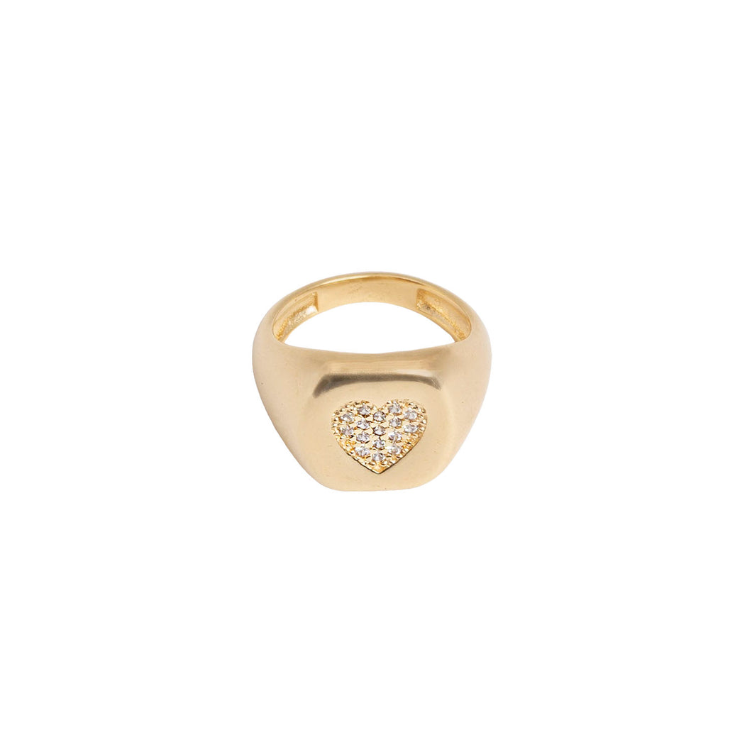 PAVE HEART SIGNET RING