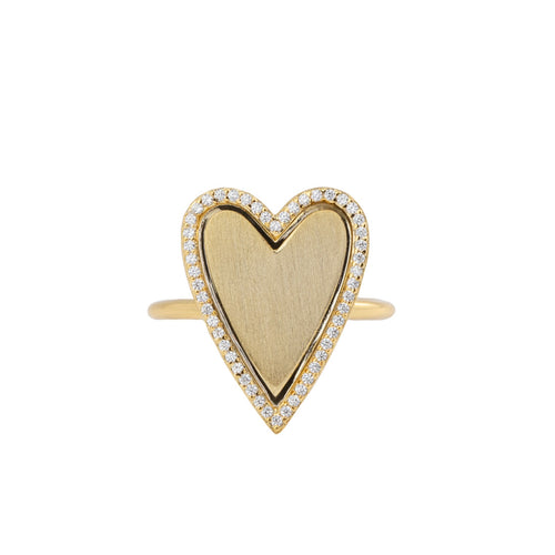 PAVE OUTLINED HEART RING