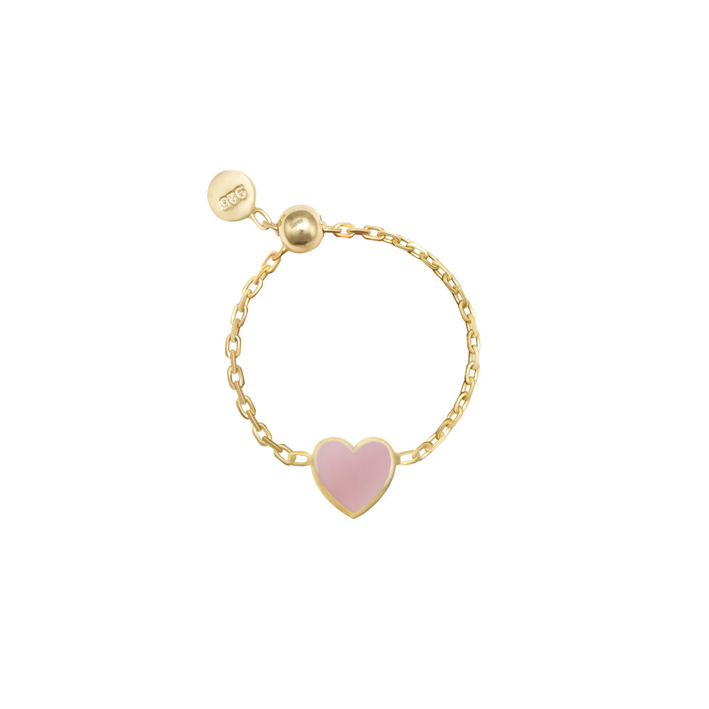 ENAMEL HEART CHAIN RINGS