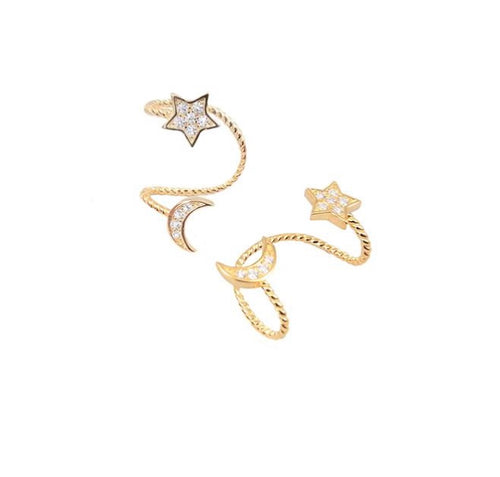 STAR AND MOON EAR CUFF
