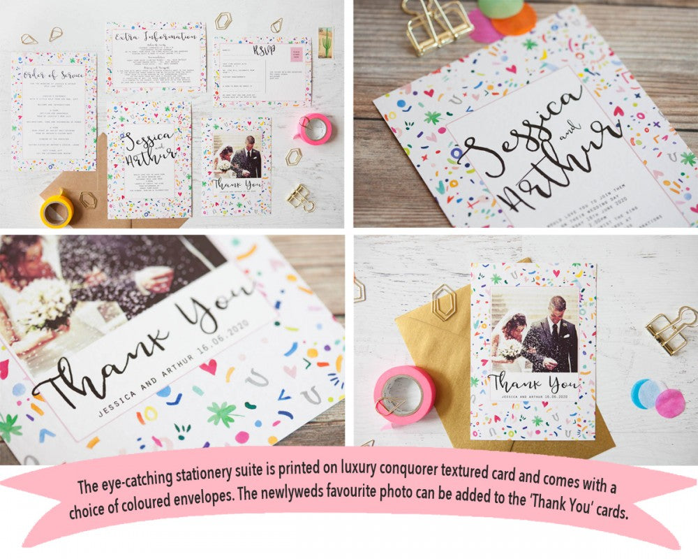 colourful confetti wedding stationery suite