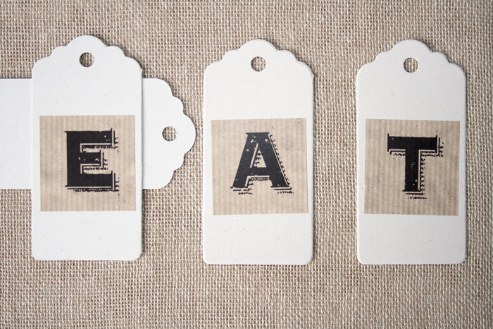 Set of 20 Oatmeal Card Luggage Tags
