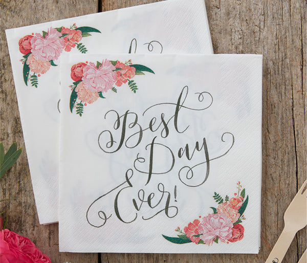 Set of 20 'Best Day Ever' Paper Napkins