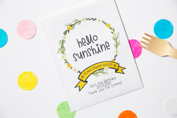 'Hello Sunshine' Sunflower Birthday Party Favours
