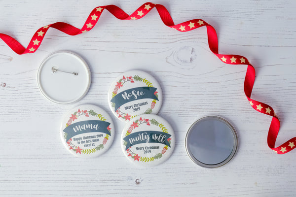 Christmas Wreath Personalised Badge Or Pocket Mirror
