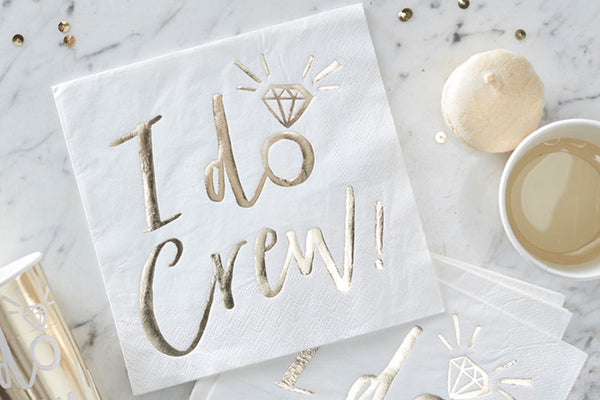I Do Crew!' Gold Foiled Paper Napkins