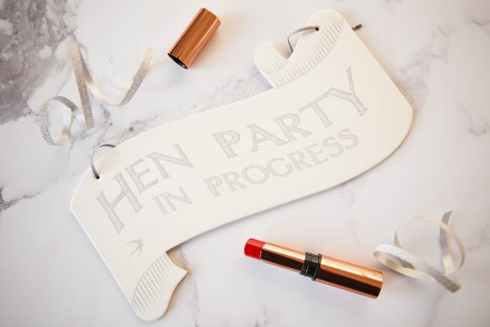 'Hen Party In Progress' Hanging Sign