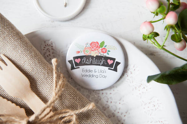 Personalised Ribbon & Rose Big Badge or Mirror