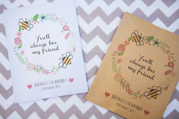 Bee Friendly Wildflower Seed Packet Party Gifts