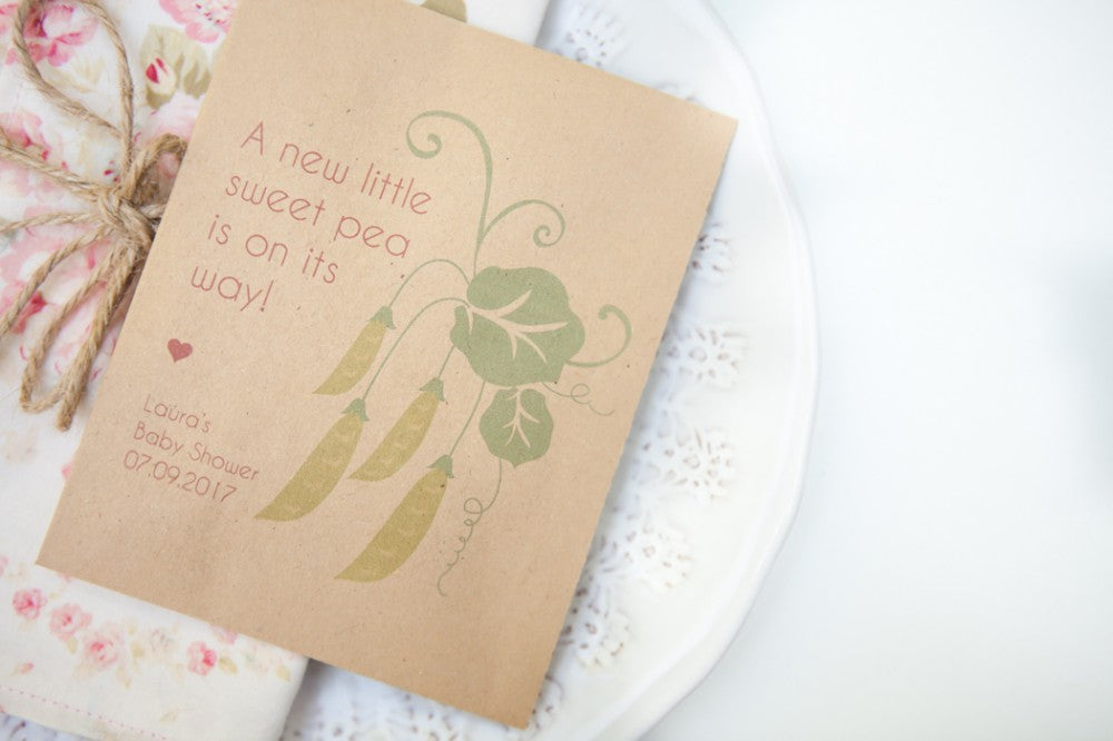 'Sweet Pea' Baby Shower Seed Packet Favours