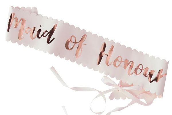 Rose Gold 'Maid of Honour' Hen Party Sash