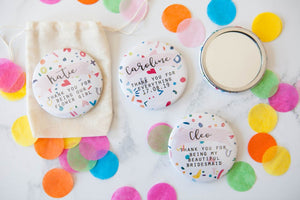 Personalised Colourful Confetti Print Big Badge or Mirror