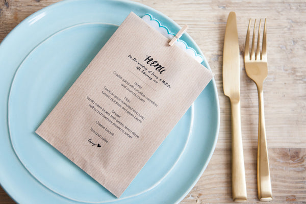 Personalised Menu Kraft Paper Bag