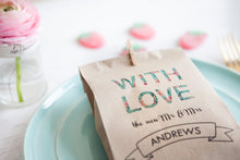 Floral Font 'With Love' Paper Goodie Bag