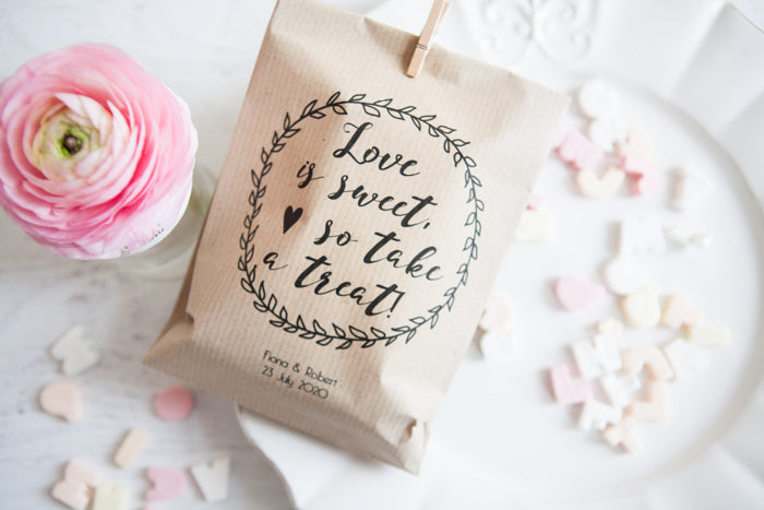 Love Is Sweet' Personalised Paper Goodie Bag