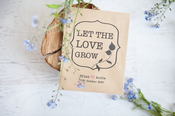 Let the Love Grow' Personalised Seed Packet Favour