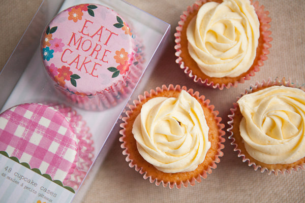 Set of 48 'Eat More Cake' Cupcake Cases