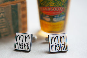 'Mr Right' Ceramic Cufflinks