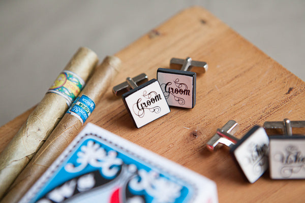 Handmade Wedding Party Ceramic Cufflinks