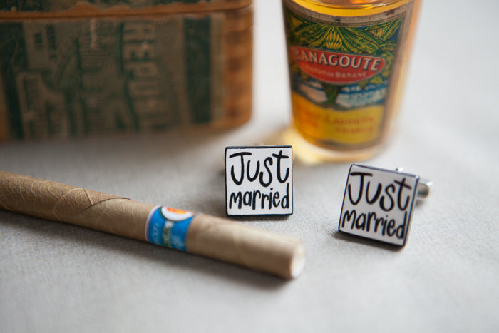 'Just Married' Ceramic Cufflinks