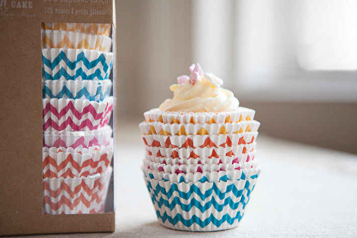 Set of 100 Chevron Cupcake Cases