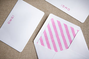 Set of 6 'OMG!' Pink Glitter Notecards