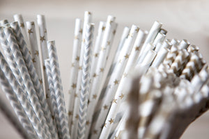 Set of 25 Soft Metallic Paper Straws