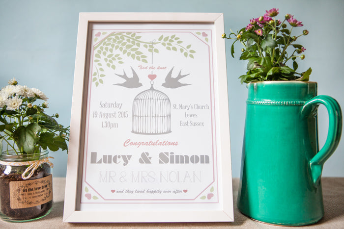 Lovebirds Personalised Wedding Day Print
