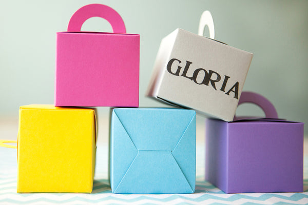 Set of 10 Colour Pop Favour Boxes