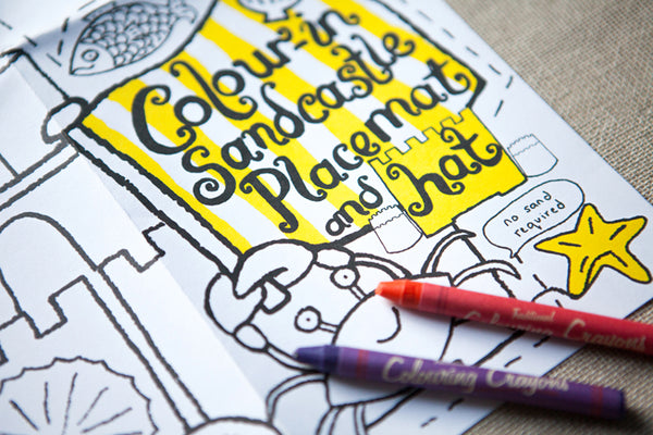 Colour-In Sandcastle Placemat & Hat