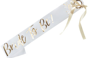 Bride to Be White & Gold Sash
