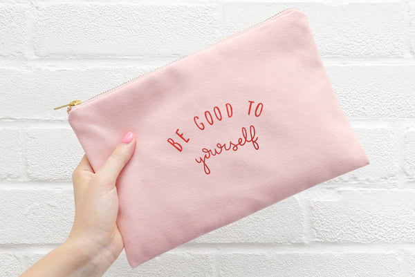 Be Good to Yourself' Pink Canvas Pouch