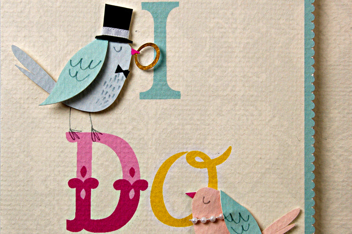 Lovebirds 'I Do' Wedding Card