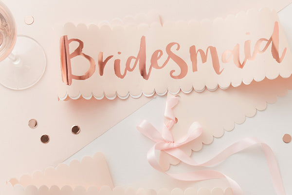 Set of 2 Rose Gold 'Bridesmaid' Hen Party Sashes